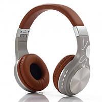 Беспроводные Bluetooth наушники FOKS Wireless Headphones SY-BT1607 стильный дизайн коричнево-серые