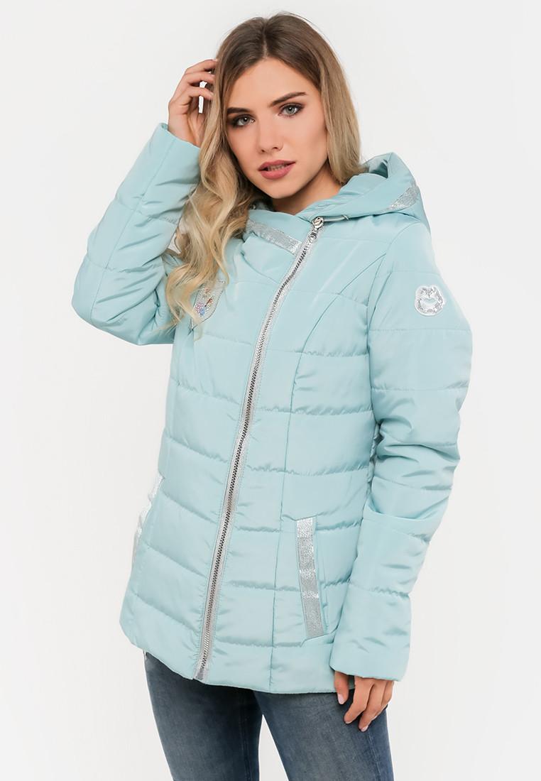 Женская демисезонная короткая куртка косуха с капюшоном Modniy Oazis голубая 90281, фото 1