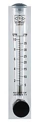 Ротаметр для воды (5-35 л/мин) панельный с регулятором потока (расходомер) (1-10 галлон)