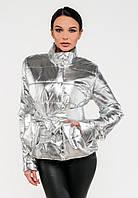 Романтическая женская демисезонная куртка с поясом бантом Modniy Oazis серебро 90282, фото 1