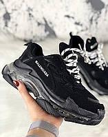 Женские кроссовки в стиле Balenciaga Triple S Clear Sole Black ТОП-качество