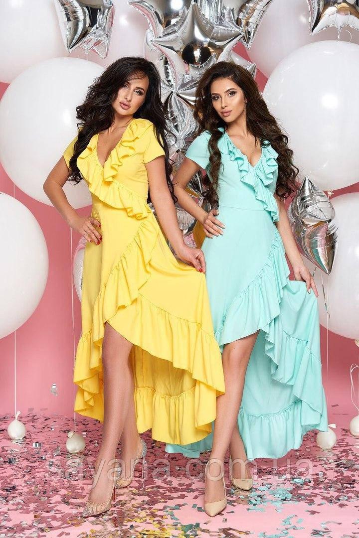 Женское летнее платье с асимметрией в расцветках. А-2-0219