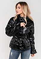 Романтическая женская демисезонная куртка с поясом бантом Modniy Oazis черный 90282/2, фото 1