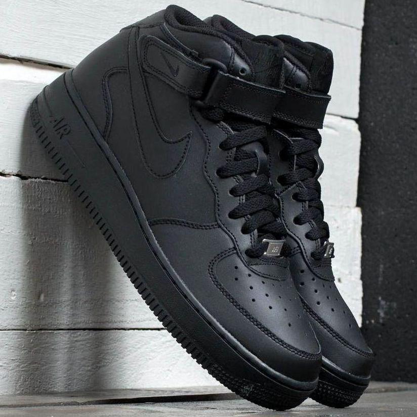 "Мужские кроссовки Nike Air Force 1 Mid ""Black"", nike air force high"