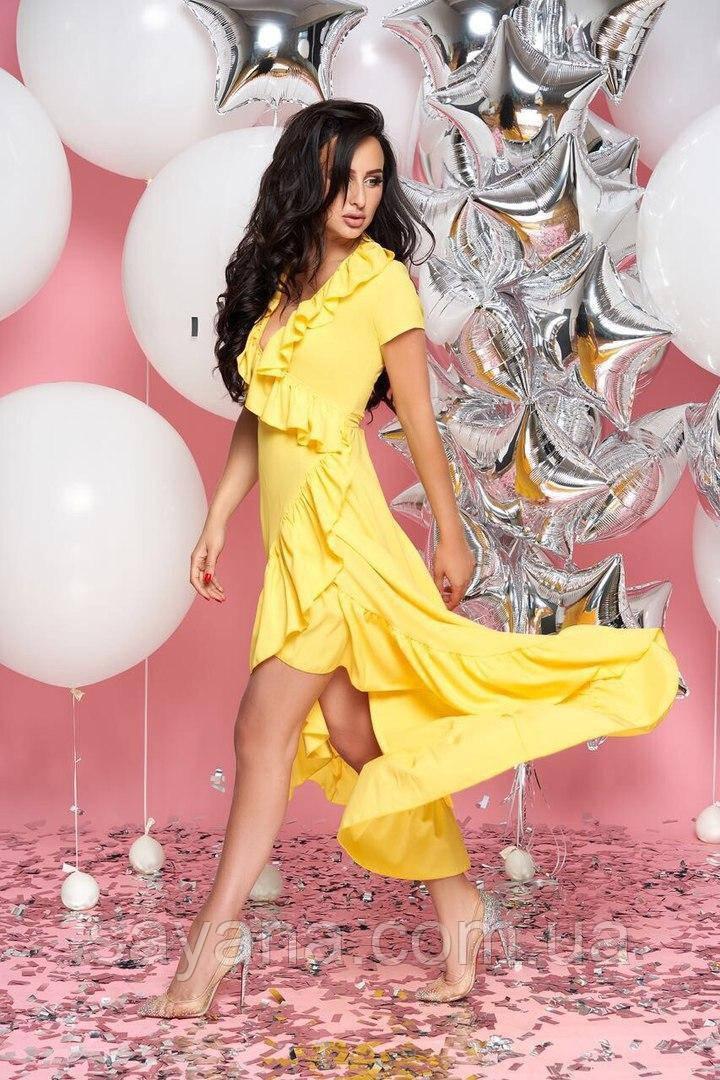 Женское летнее платье с асимметрией в расцветках, р-р 48-50. А-2-1-0219