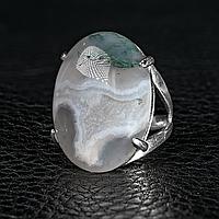 Агат моховый, 25*18 мм., серебро 925, кольцо, 983КА