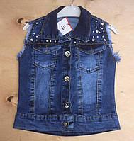 Жилетка детская джинсовая для девочек 3-7 лет