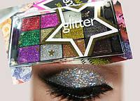 Набор Тени-глиттеры, блестки  для век   Farres cosmetics , Мерцающие тени-глиттеры 12 оттенка Палитра 12 шт