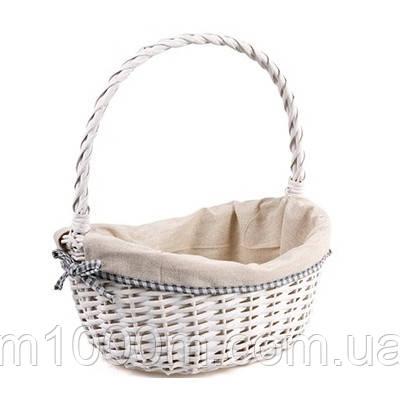 Плетений кошик з тканинним вкладенням, ,білий, фарбований, 33*26*16/38см, HL12515,