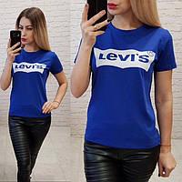 Турция! Стильная женская футболка LEVIS электрик 42-46, фото 1