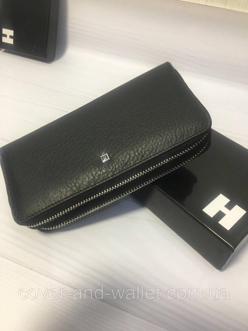 0346a828bdef Вместительный клатч-кошелёк на две молнии черный натуральная кожа - cover  and wallet (обложка