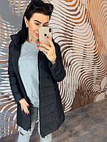 Женское черное стеганое пальто