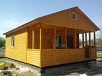 Дачный дом 6м х 6м из блокхауса с террасой