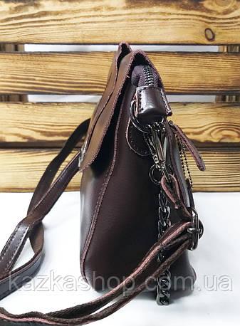 Женский клатч из натуральной кожи коричневого цвета, два съемных ремня, один регулируемый ремешок , фото 2