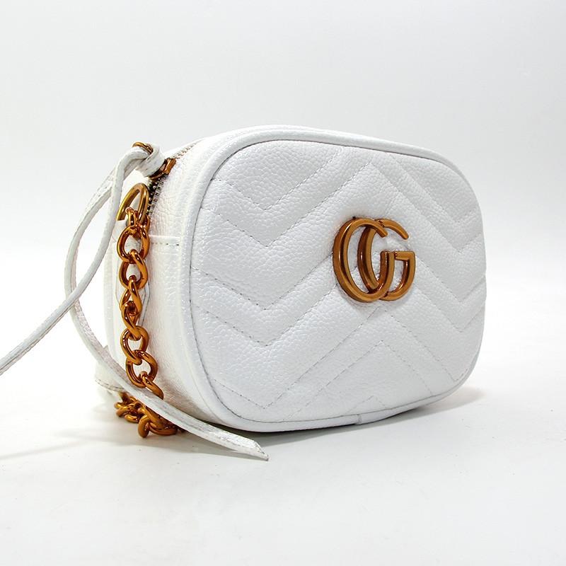 Сумочка-клатч через плечо женская кожзам белая Gucci 2063-5