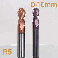 Фреза радиусная R-5mm концевая твердосплавная D-10mm/L-75/HRC - 55