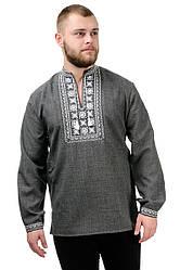 Сорочка вышиванка мужская из льна длинный рукав (лен габардин) современная темно серая