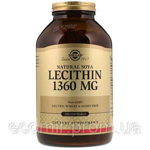 Соевый лецитин, Solgar (1360 мг / 250 капсул)
