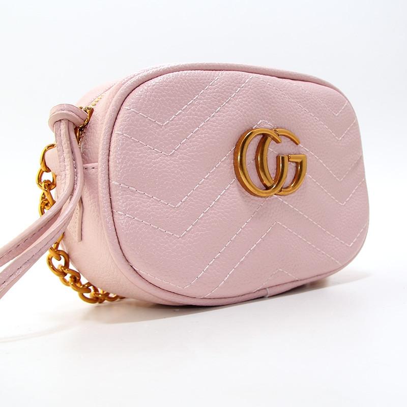 Сумочка-клатч через плечо женская кожзам розовая Gucci 2063-3