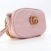 Сумочка-клатч через плечо женская кожзам розовая Gucci 2063-3, фото 1