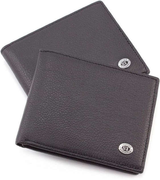 Класичний чоловічий портмоне з натуральної шкіри чорного кольору Sergio Torretti (ST Leather) ST160 Black