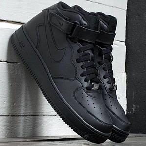 "Женские и мужские кроссовки Nike Air Force 1 Mid ""Black"""
