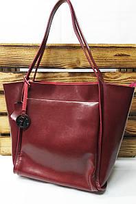Женская сумка из натуральной кожи цвета марсал, косметичка в комплекте, съемный регулируемый ремешок
