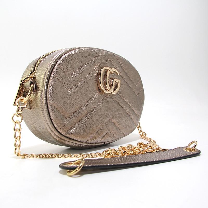 Сумочка-клатч на пояс, через плечо женская кожзам темное золото Gucci 20875-10а
