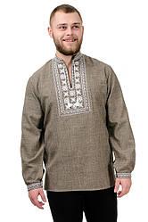 Сорочка вышиванка мужская из льна длинный рукав (лен габардин) современная бежевая