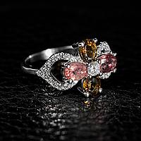 Турмалин разноцветный, серебро 925, кольцо, 986КТ