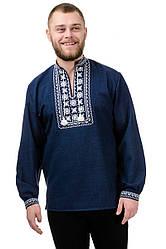 Сорочка вышиванка мужская из льна длинный рукав (лен габардин) современная темно синяя