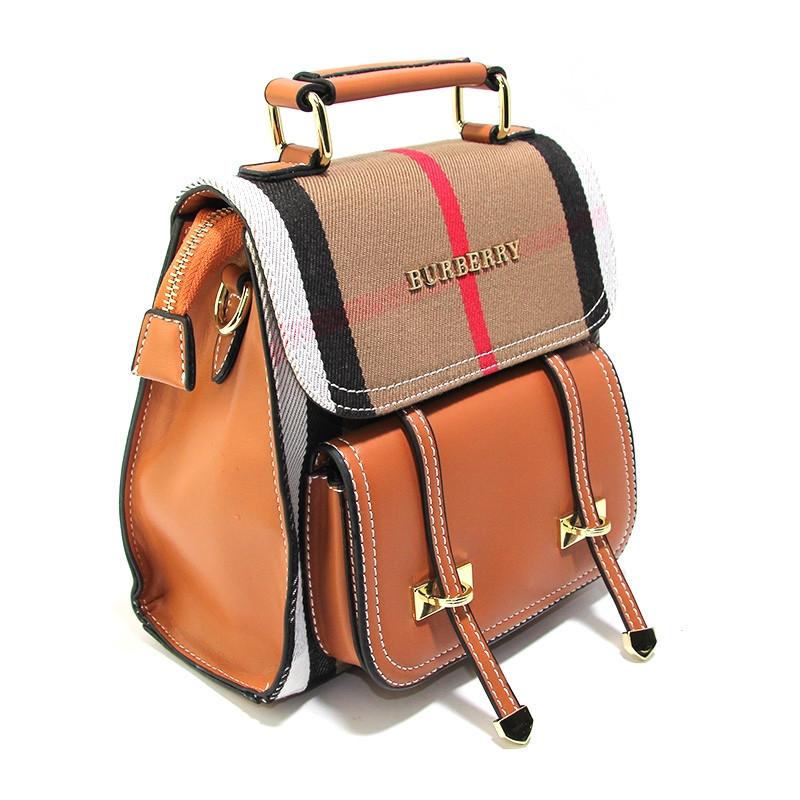 Рюкзак женский средний кожзам, коричневый Burberry 86122