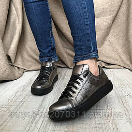 Женские кроссовки темно серого  цвета из натуральной кожи