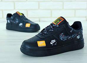 Мужские кроссовки Nike Air Force 1 Low Just Do It Pack Black, фото 3