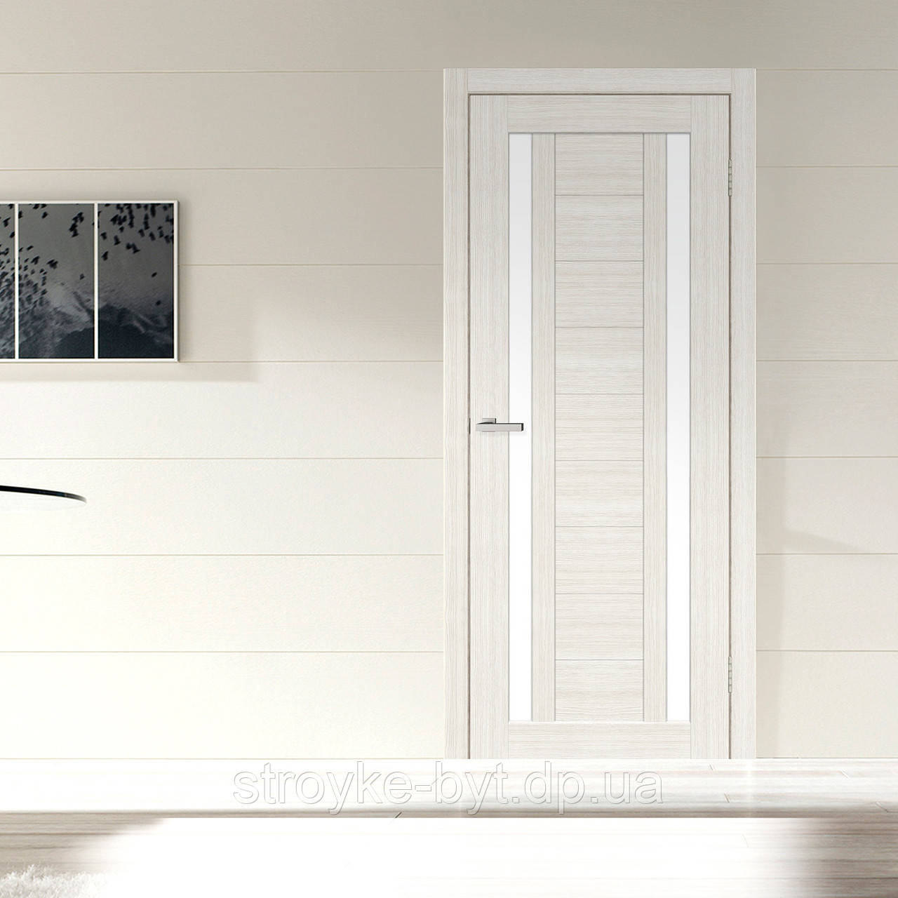 """Дверное полотно Cortex Deco 02 дуб Bianco / дуб Bianco line """"ПО-Сатин"""" """"Омис"""""""