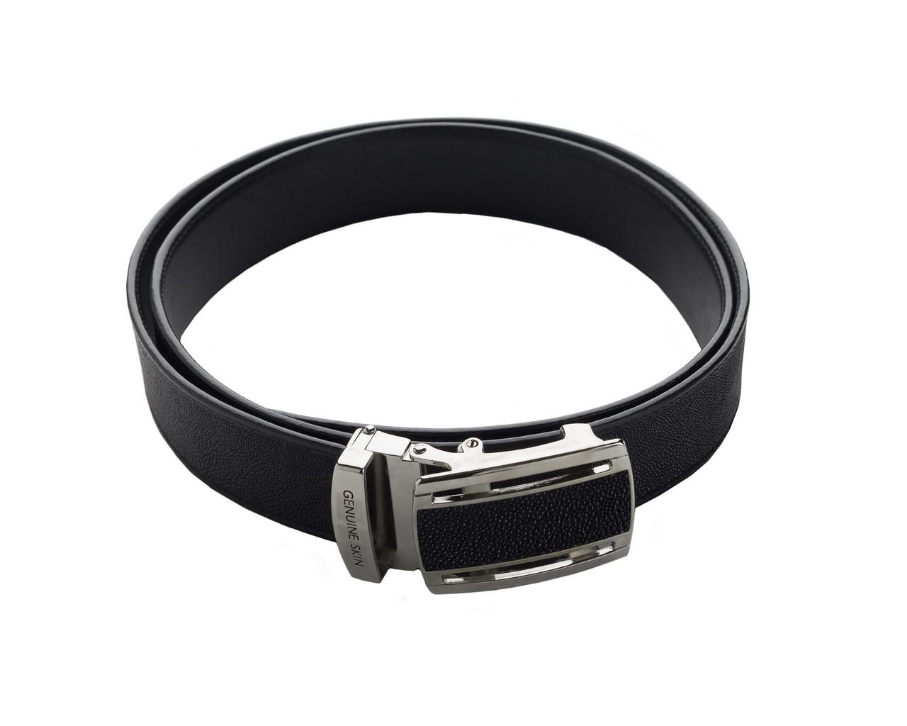 Ремень из кожи ската Ekzotic Leather Черный (stb10_2)