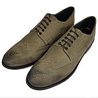 Мужские замшевые туфли оксфорды ручной работы Frank Wright серые SH0023