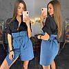 Женское комбинированное платье рубашка в расцветках. ЛД-42-0219 , фото 3