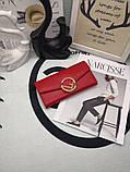 Женский кошелёк от Фенди, натуральная кожа, цвет красный с золотом, фото 2