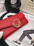 Женский кошелёк от Фенди, натуральная кожа, цвет красный с золотом, фото 6