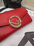 Женский кошелёк от Фенди, натуральная кожа, цвет красный с золотом, фото 3