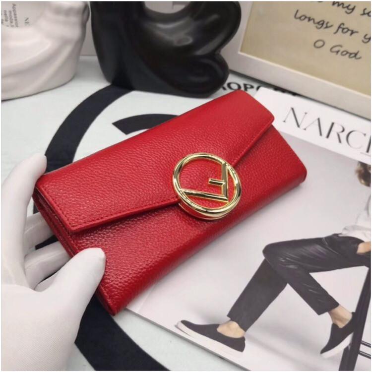 Женский кошелёк от Фенди, натуральная кожа, цвет красный с золотом