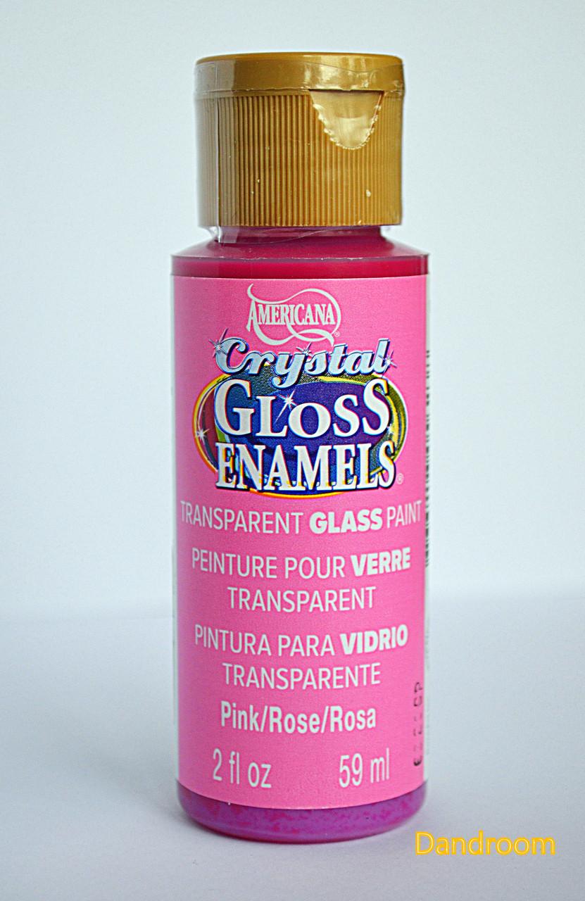 Краска для стекла и керамики, прозрачная, акриловая, Розовая, Americana, 59 мл, DecoArt