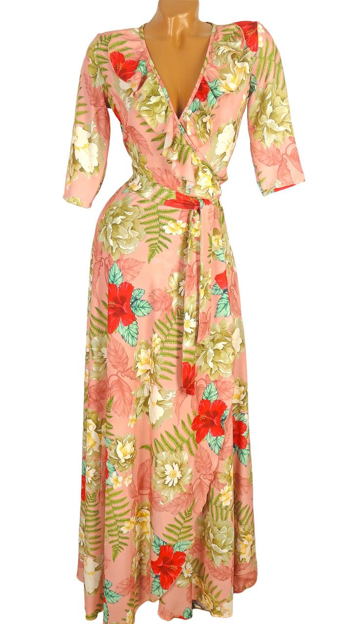 Платье в пол с цветочным принтом (в расцветках)