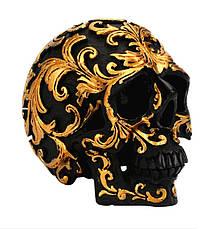 Декоративный маленький черный череп с золотыми узорами, статуя украшение для дома, бара, на Хеллоуин, фото 2