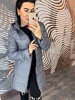 Серое женское пальто на пуху