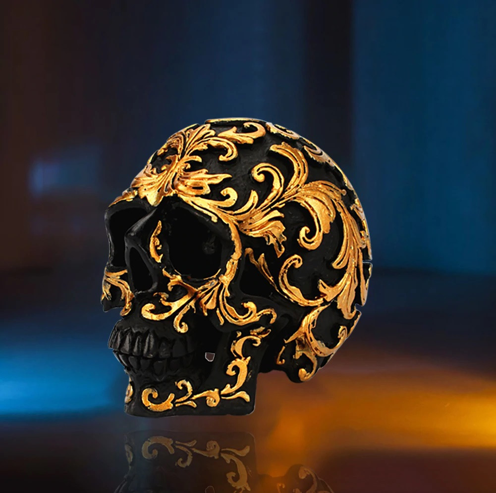 Декоративный маленький черный череп с золотыми узорами, статуя украшение для дома, бара, на Хеллоуин