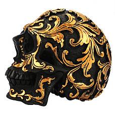 Декоративный маленький черный череп с золотыми узорами, статуя украшение для дома, бара, на Хеллоуин, фото 3