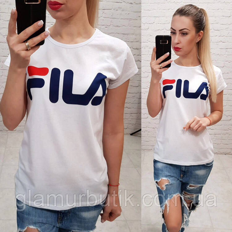 9a1838a7377ce71 Турция! Стильная женская футболка FILA белая S M L: продажа, цена в ...