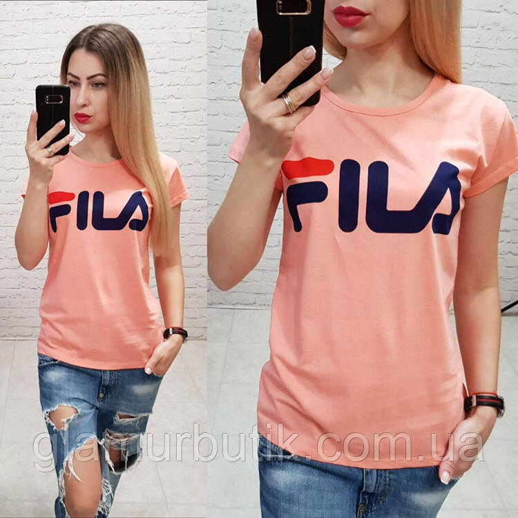 1646e5c59b0845b Турция! Стильная женская футболка FILA персик S M L: продажа, цена в ...
